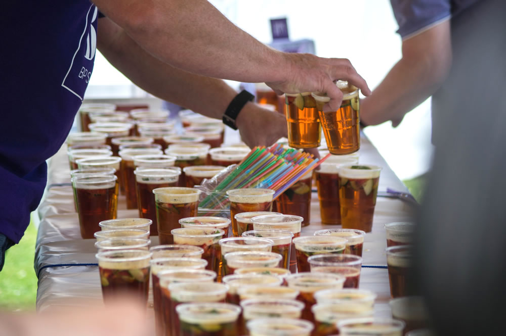 Pimms being served